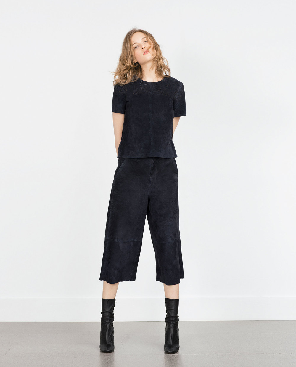 Suede Culottes. Zara. $129. (I have these! They are navy blue. Believe it!)