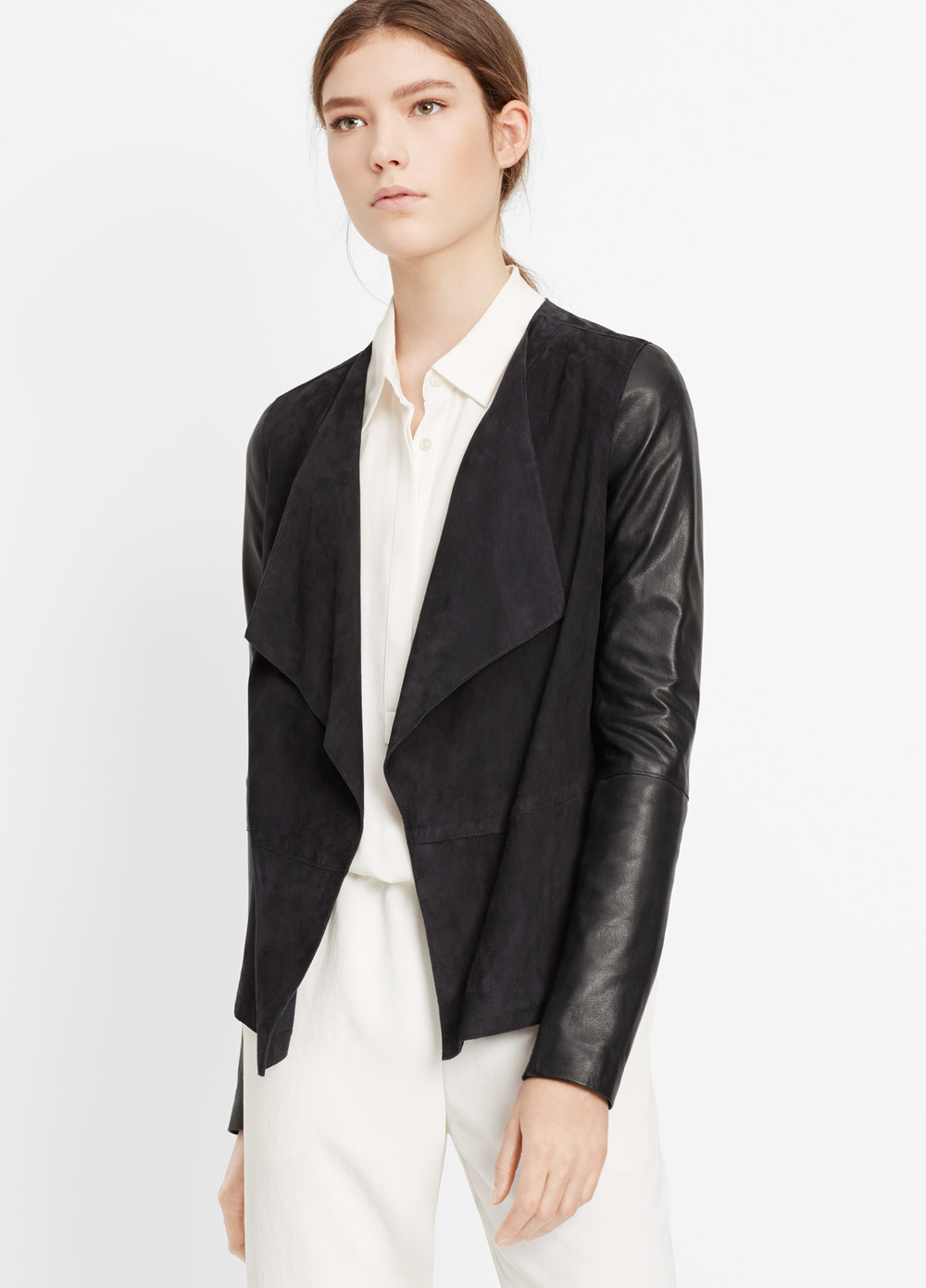 Vince Suede Blocked Drape Front Jacket. Available in black/brown, black/black. Vince. $995.