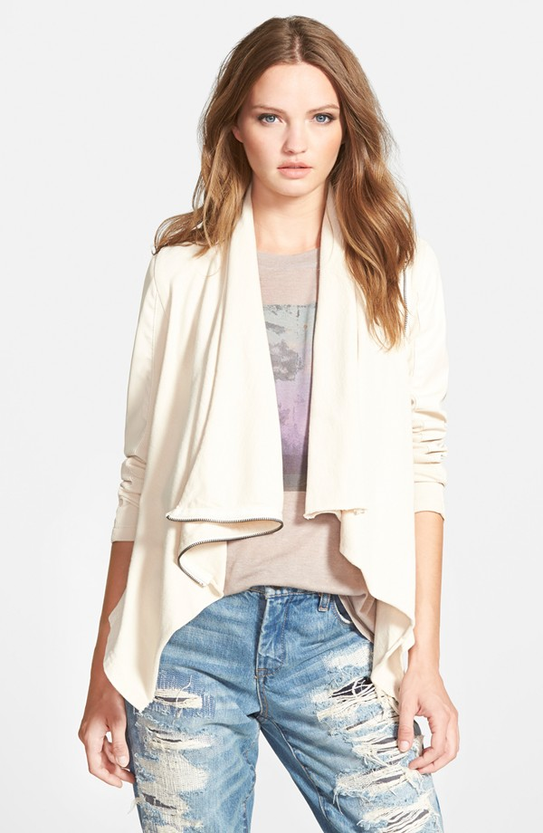 BLANKNESS Private Practice Drape Front Mixed Media Jacket. Nordstrom. $98.