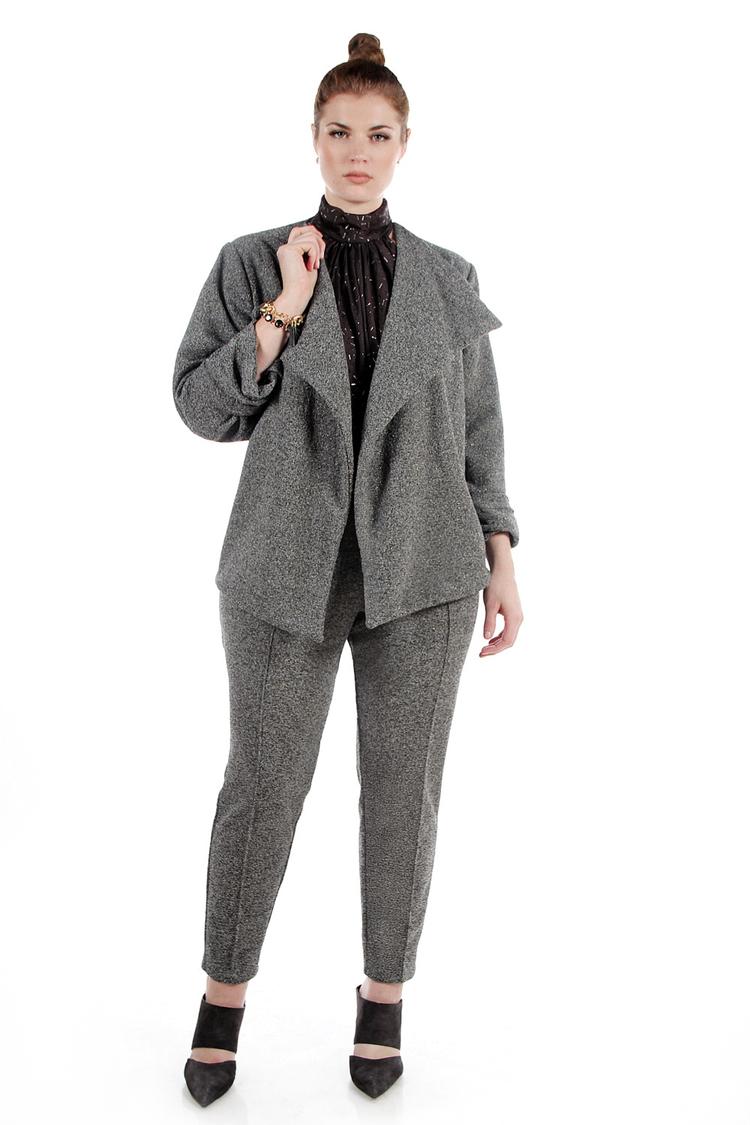 High Waist Gray Metallic Knit Pencil Pant. JIBRI. $130.00.