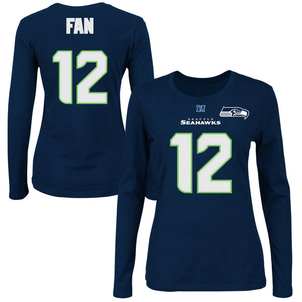 Seattle Seahawks 12th Fan Majestic College Navy Fair Catch V Name & Number Long Sleeve Tee. Seahawks Pro Shop. $34.