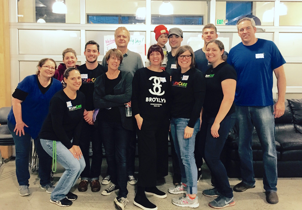 The crew after cleaning the Orion Center at YouthCare's Family Volunteer Day.