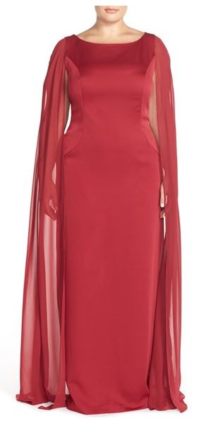 Adrianna Papell Satin Column Gown with Chiffon Cape. Nordstrom. $219.00. Also in Black