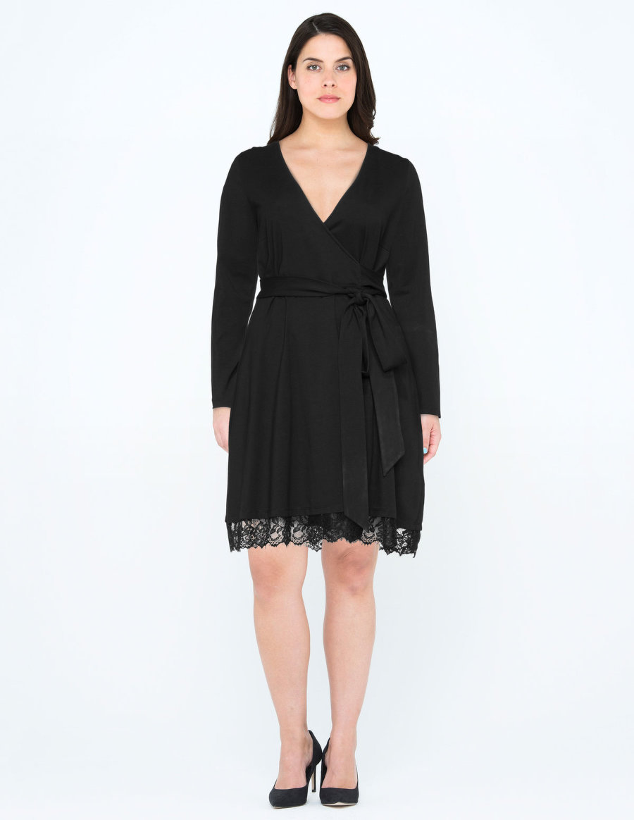 Monon BaptisteLace Trim Jersey Wrap Effect Dress. Navabi. $200.90