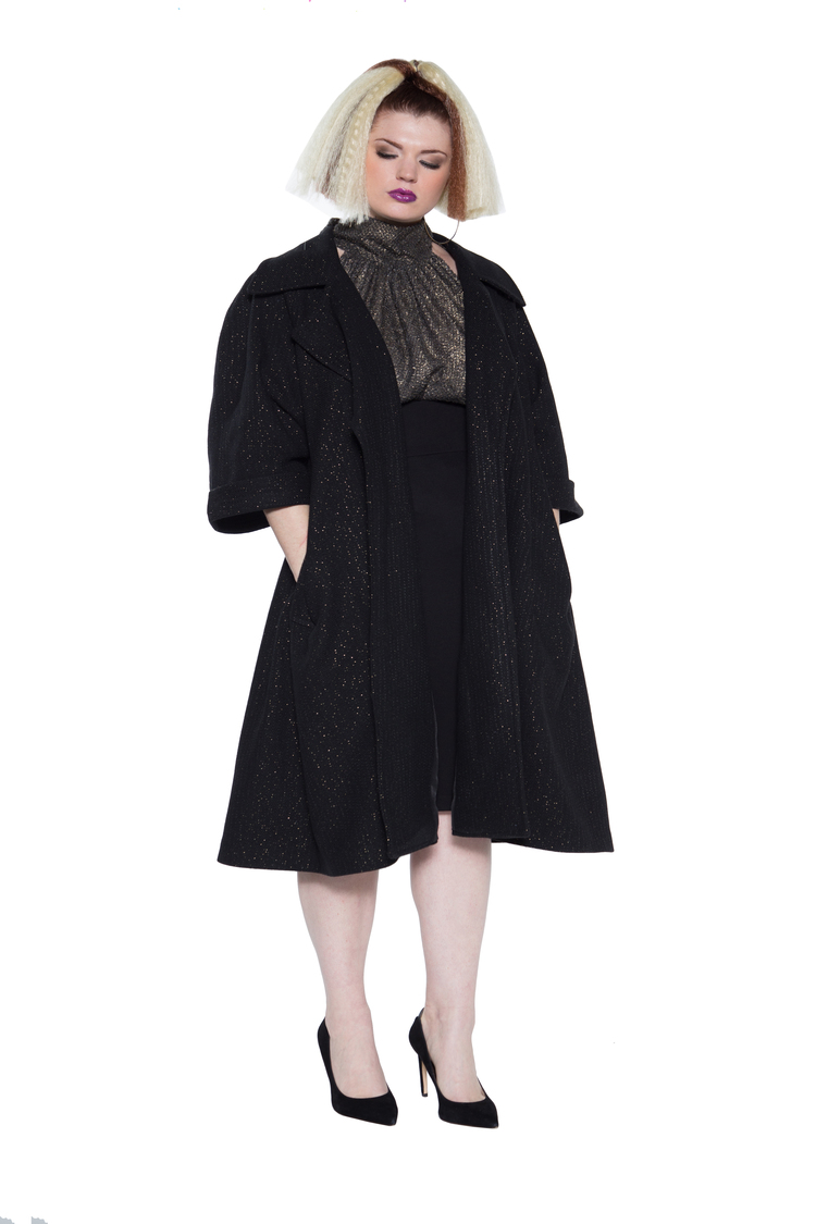 Metallic Wool Swing Coat. JIBRI. $360.00