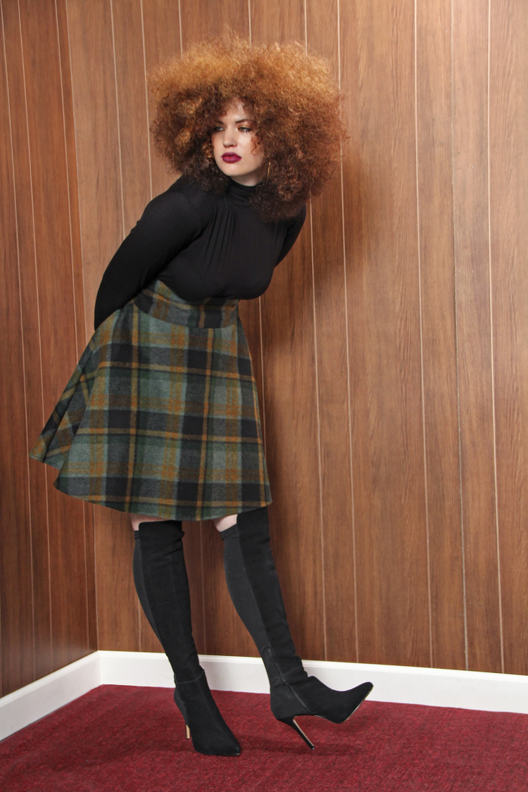 High Waist Green Plaid Skirt. Jibri. $140.00