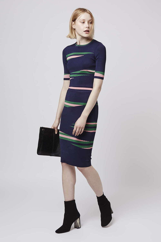 Eraser Stripe Top and Skirt. Topshop. $150.
