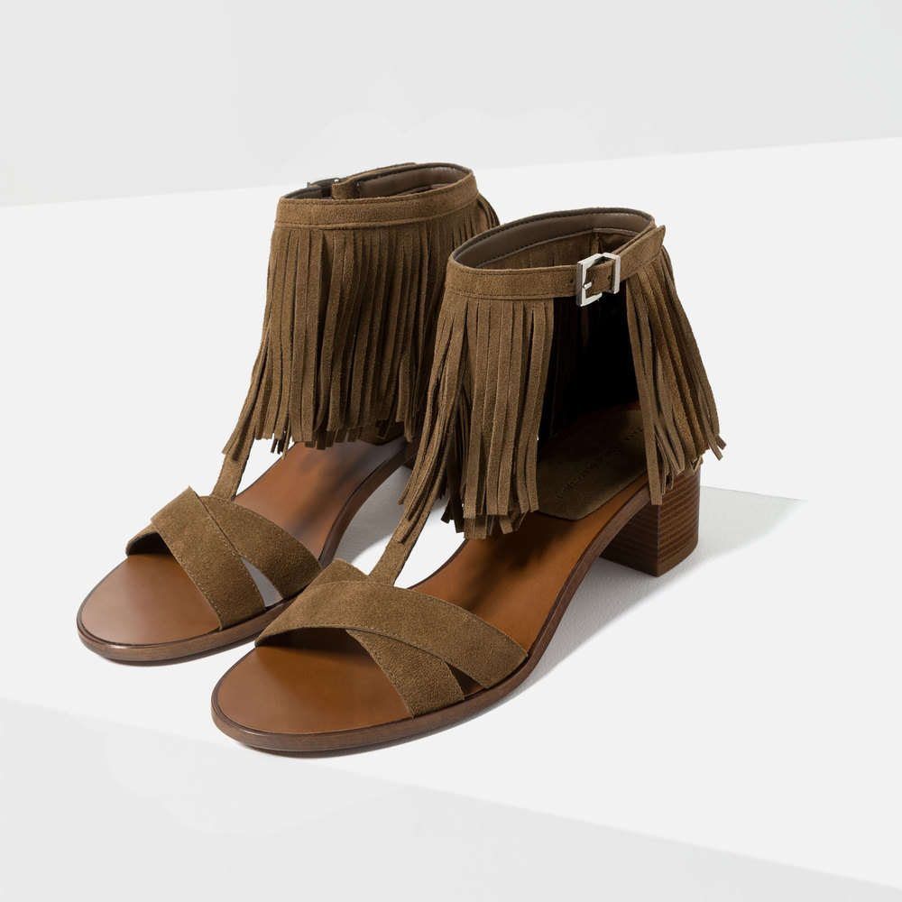 Fringed Leather Sandal. Zara. $89.