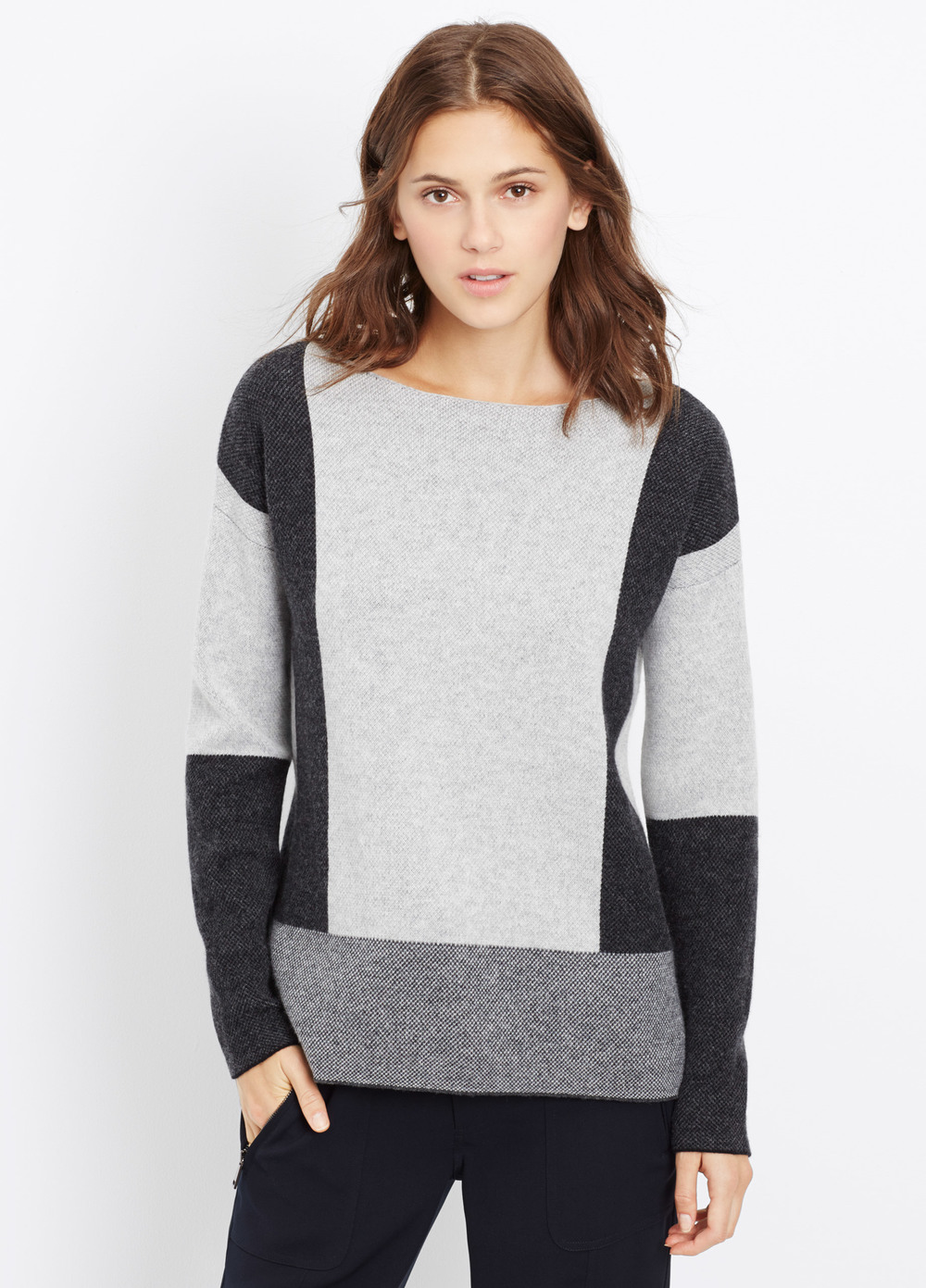 Vince Wool Cashmere Intarsia Colorblock Sweater. Available in two colors. Vince. Was: $345 Now: $138.