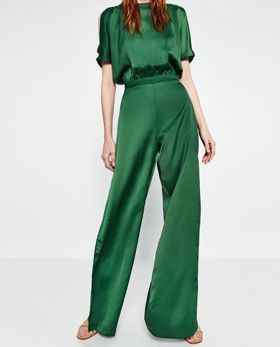 Two trends in one: Cut Out Shoulder Wide Leg Jumpsuit. Zara. $129.