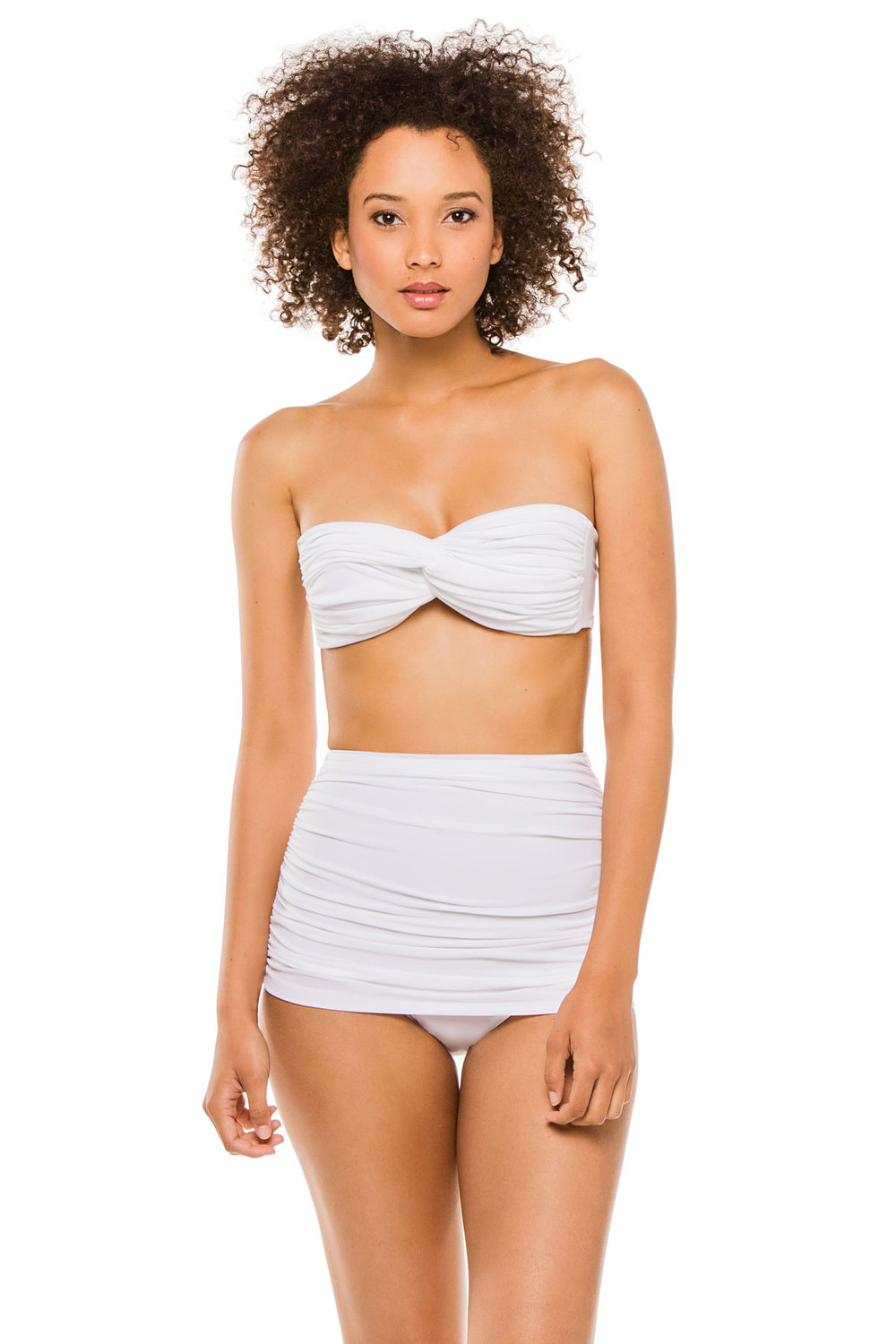 Norma Kamali's Bandeau Top and Bottoms. Available in white, black. Sold Separately. Everything but Water. $175 Nd $185.