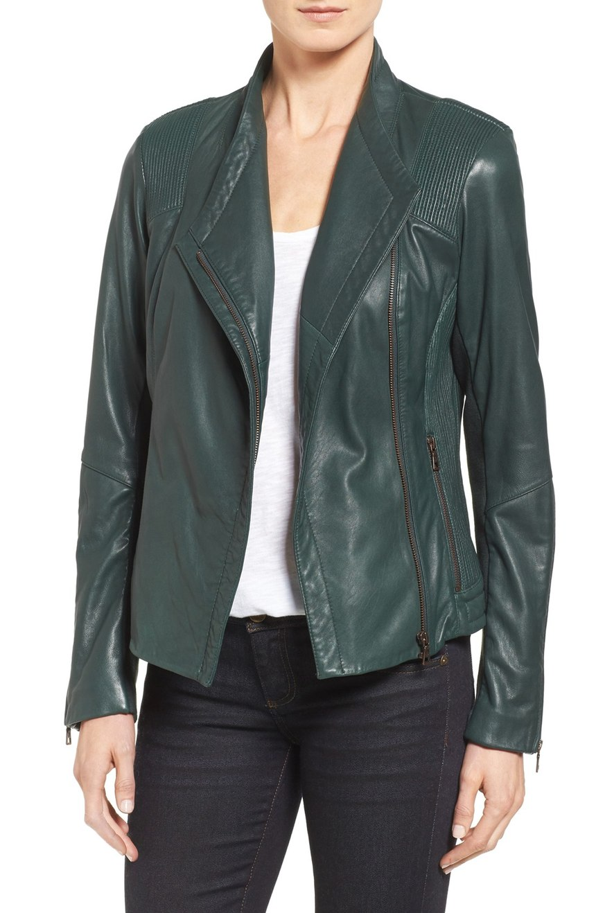 Sam Edelman  Pintucked Leather Jacket. Nordstrom. Was: $450 Now: $298.