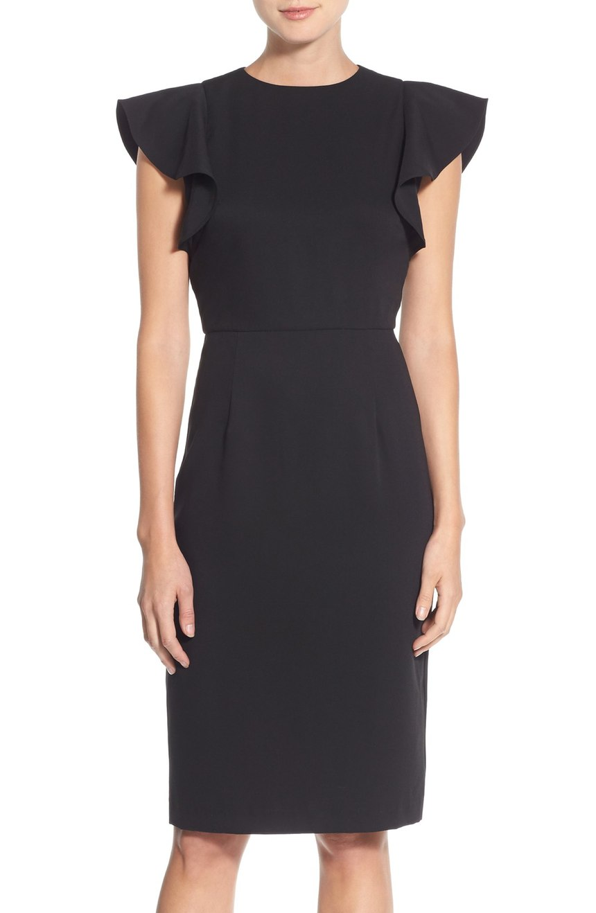 Flutter Sleeve Stretch Sheath Dress. Nordstrom. Now: $92. Will be: $139.