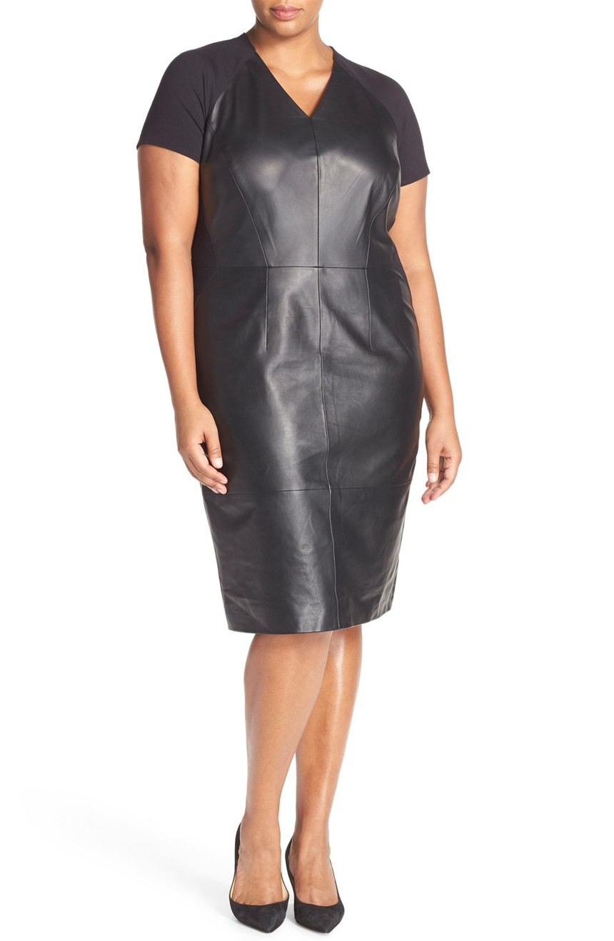 Sejour  V-Neck Leather & Ponte Sheath Dress (Plus Size). Nordstrom. Was: $329 Now: $199.