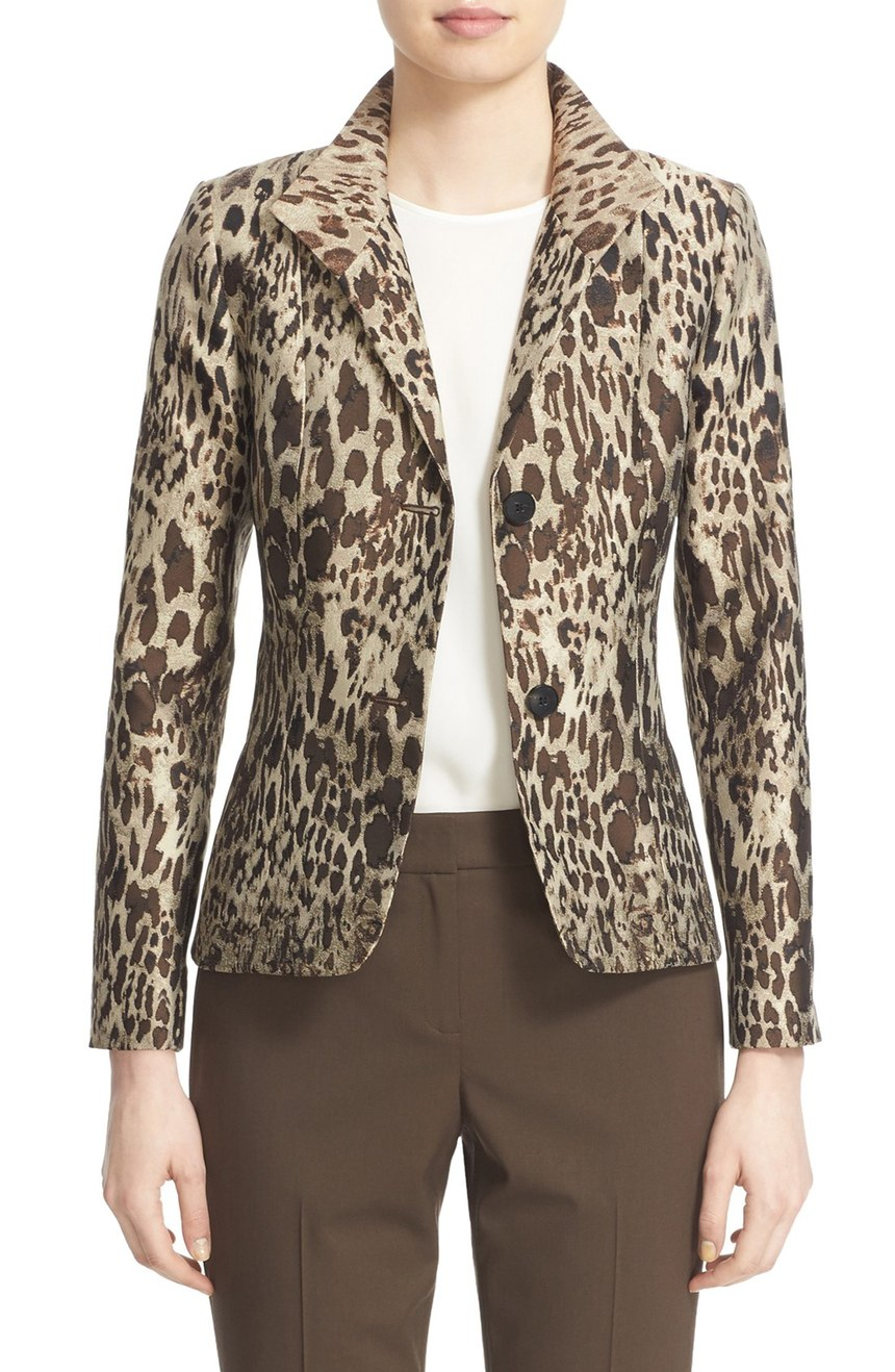 Lafayette 148 New York  'Debbie' Animal Jacquard Blazer. Nordstrom. Now: $399. Will be: $598.