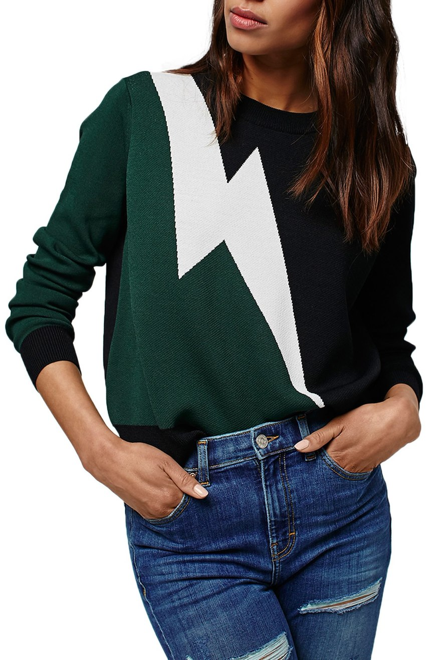 Topshop  Lightning Bolt Sweater. Nordstrom. Now: $52 Will be: $80.