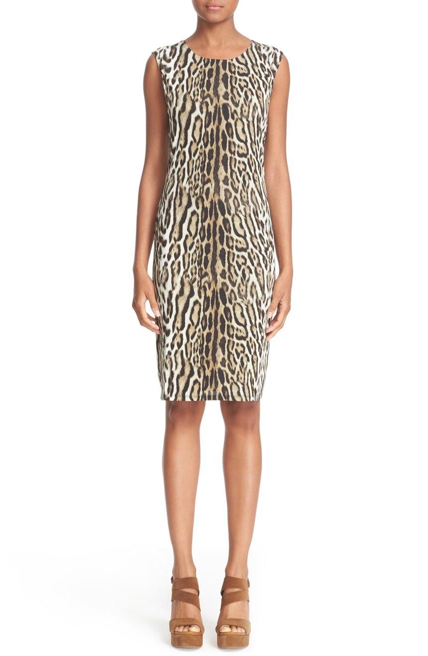 Roberto Cavalli  Leopard Print Sleeveless Sheath Dress. Nordstrom. Was: $755 Now: $529.