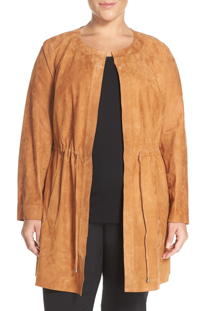 Lafayette 148 New York   'Jonas' Lambskin Suede Topper (Plus Size). Now: $1,002. Will be: $1,498.