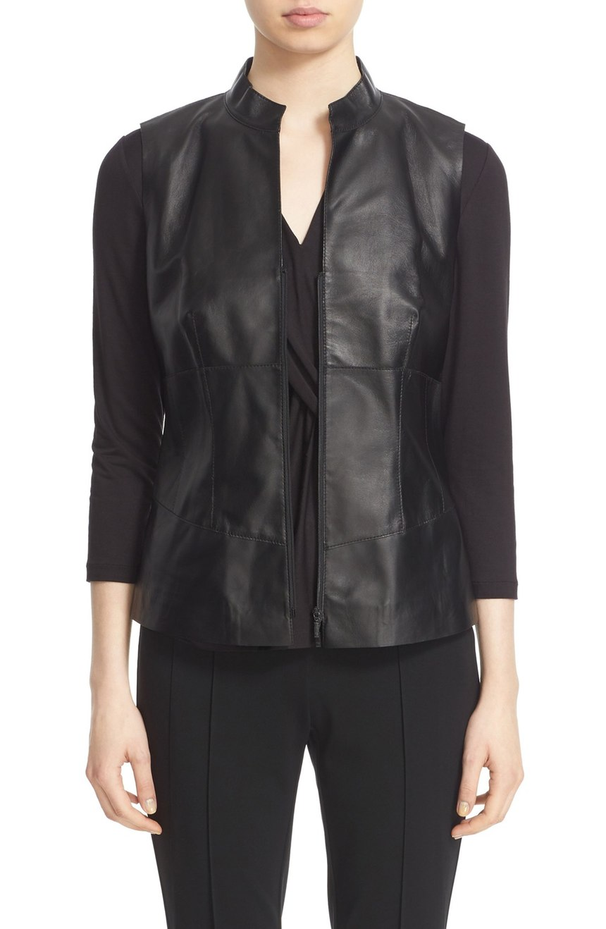 Lafayette 148 New York   Leather Moto Vest. Nordstrom. Now: $499. Will be: $798.