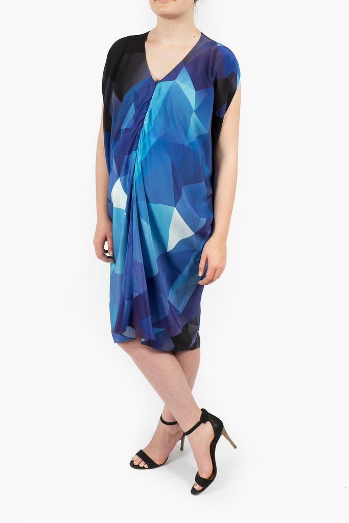 The Silk Radiant Dress Blue Cube Digital Print Limited Edition. Only 15 produced. Kinwolfe. $325. Additional $50 off with code: THANKS.