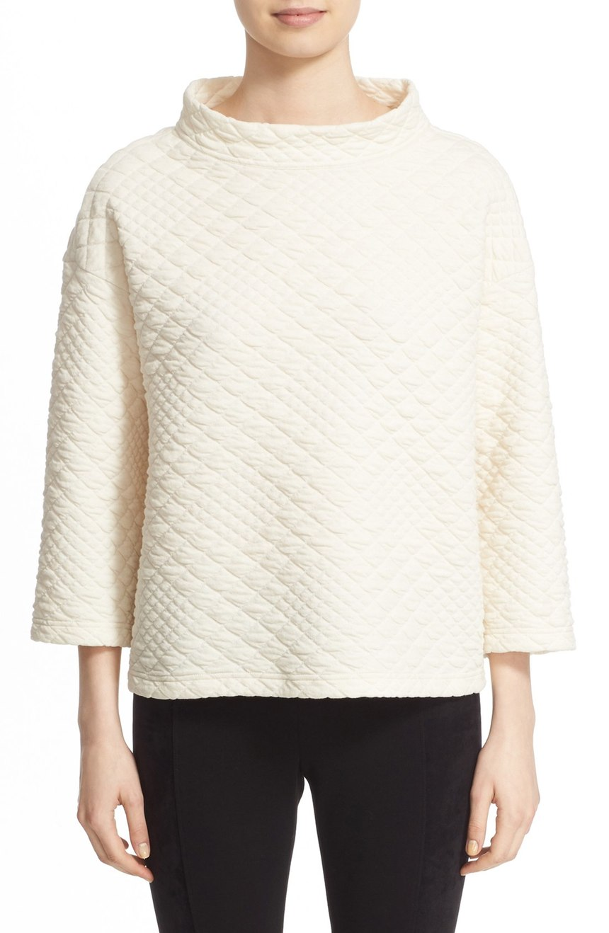 Lafayette 148 New York  Stand Collar Quilted Sweatshirt. Nordstrom. Now: $198. Will be: $298.
