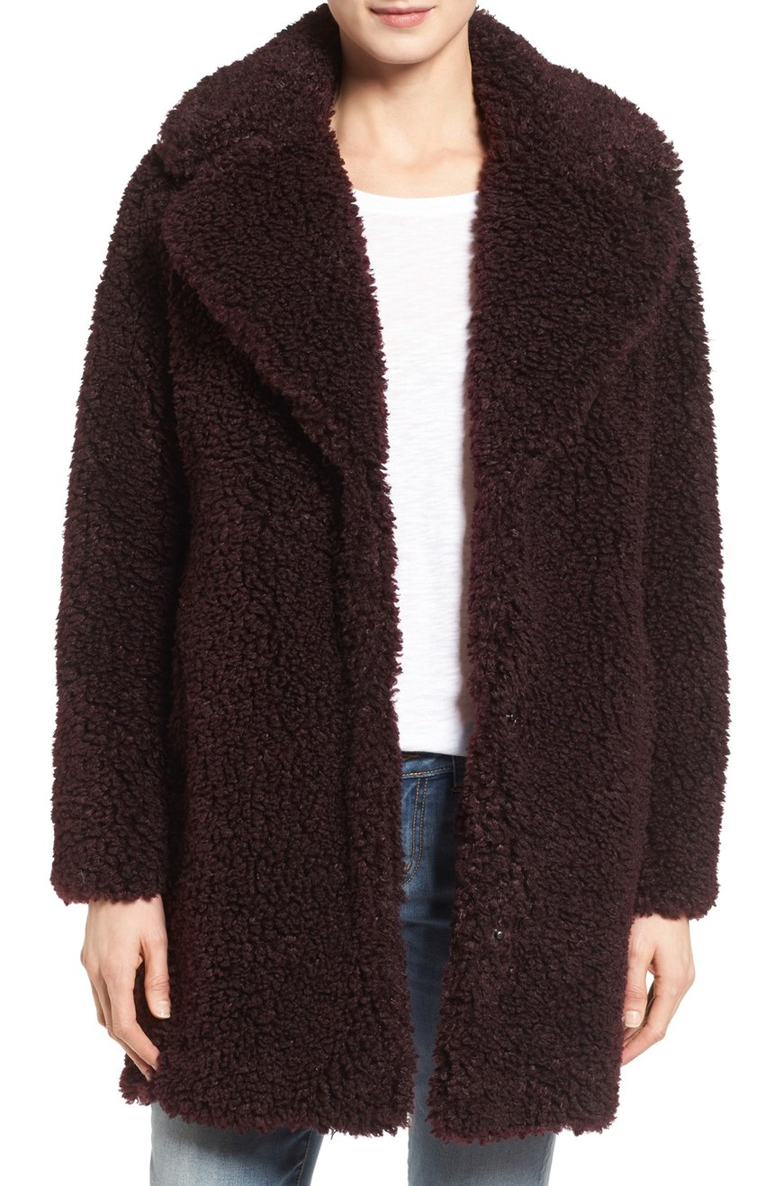 kensie   'Teddy Bear' Notch Collar Faux Fur Coat (Online Only). Available in wine, grey. Nordstrom. Now: $99. Will be: $198.
