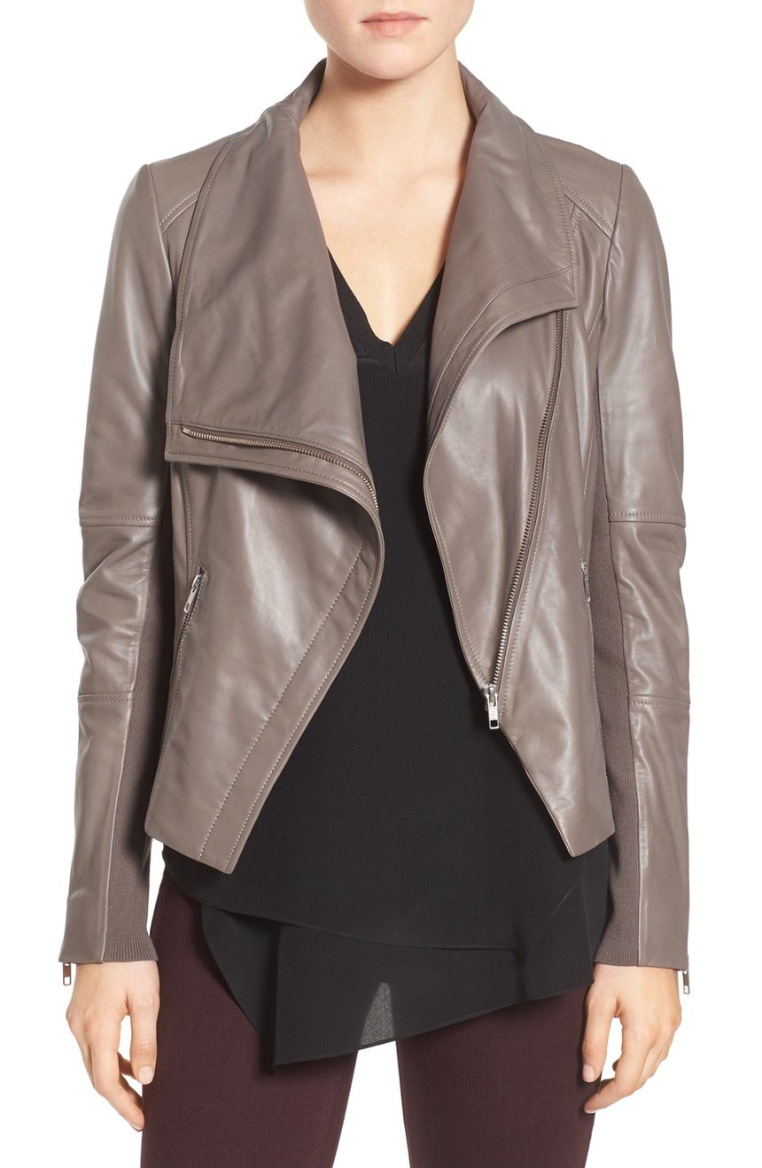 Anniversary Sale Early Access    Trouvé   Drape Front Leather Jacket. Available in grey, brown, black. Nordstrom. Now: $219 Will be: $329.