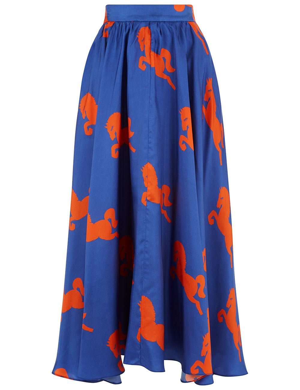 Blue Silk Horse Print Dressage Skirt. MACGRAW. $595.