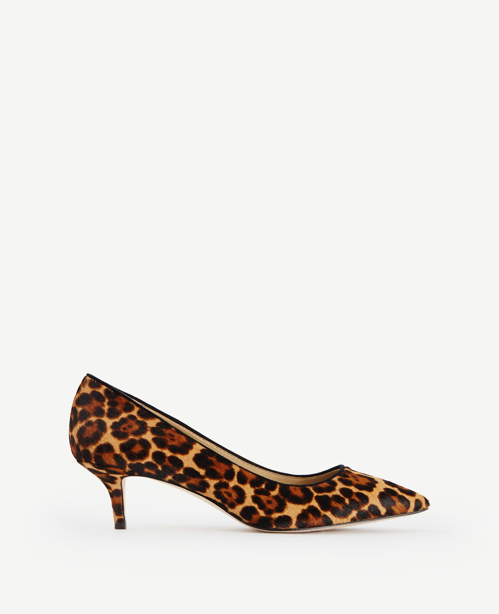 """Reese Leopard Print Haircalf (AKA, """"pony"""") Pumps. Ann Taylor. $148. Additional 40% off with code: FRIENDS40."""