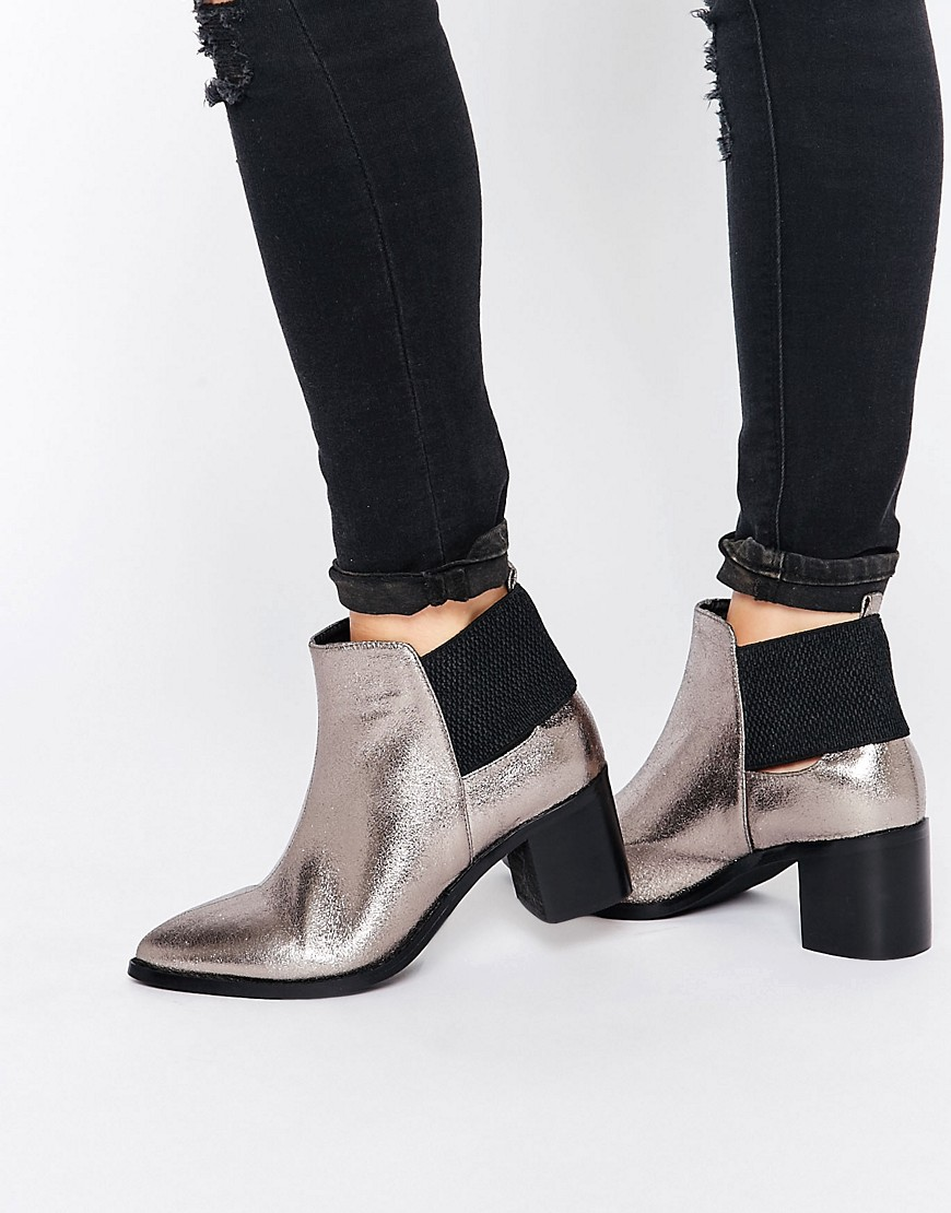 Lost Ink Aimon Silver Metallic Heeled Ankle Boots. ASOS. $64.