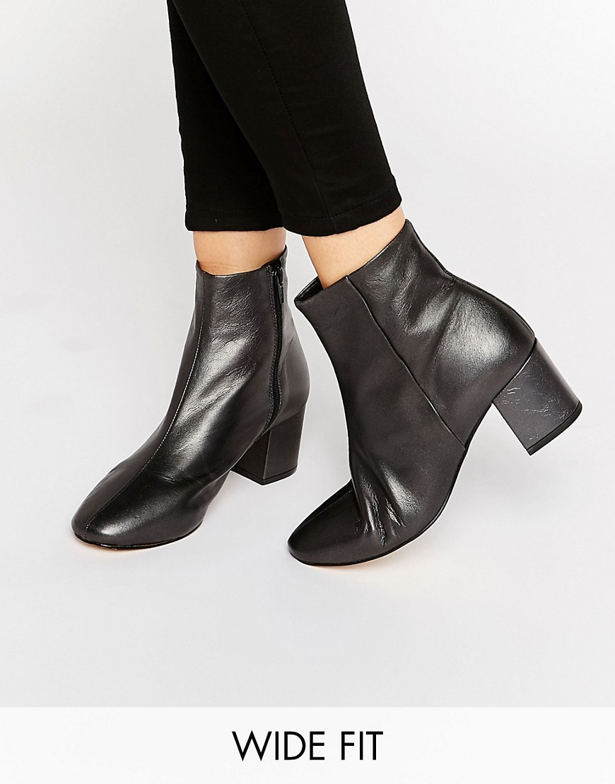 Dune Wide Fit Pebble Pewter Leather Heeled Ankle Boots. ASOS. $185.