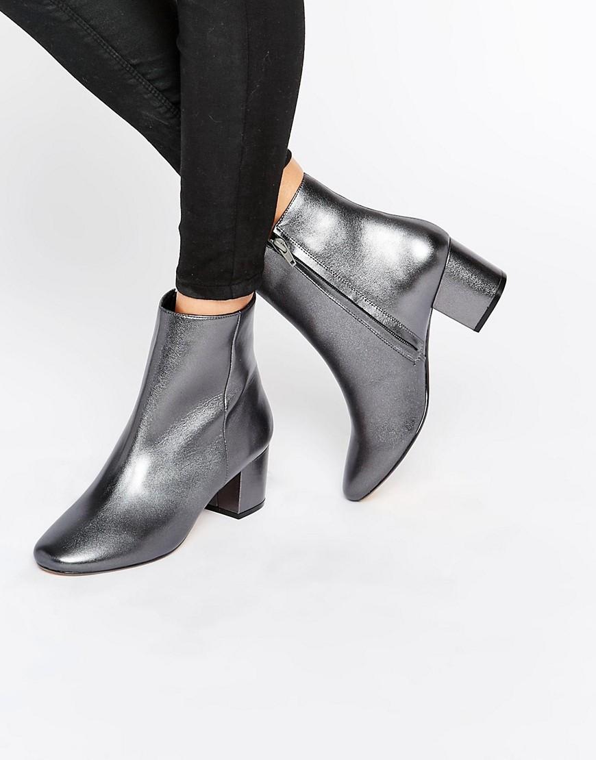 Dune Pebble Pewter Metallic Block Heeled Ankle Boots. ASOS. $185.