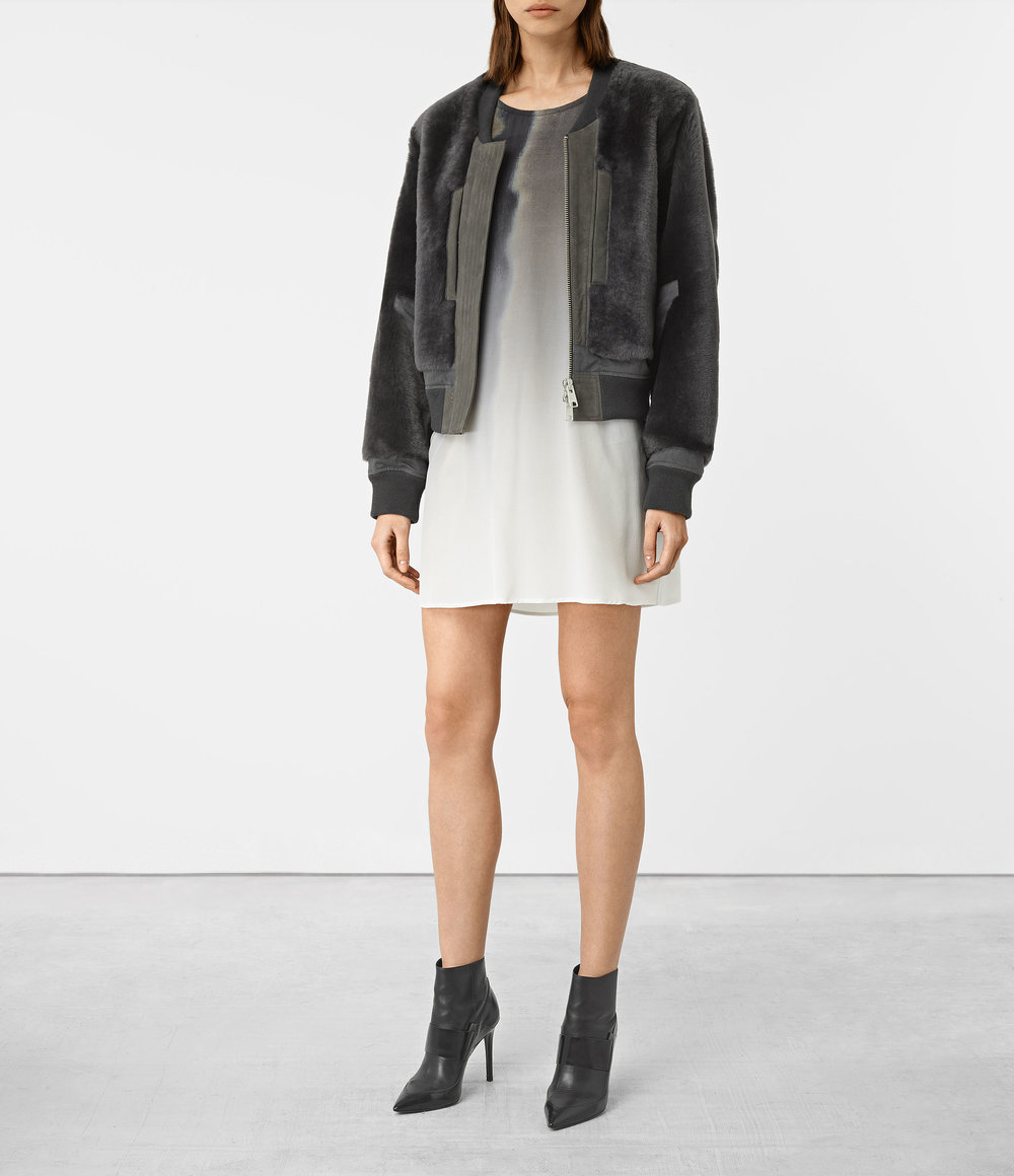 FINCH SHEARLING BOMBER JACKET. Available in multiple colors. All Saints. $995.