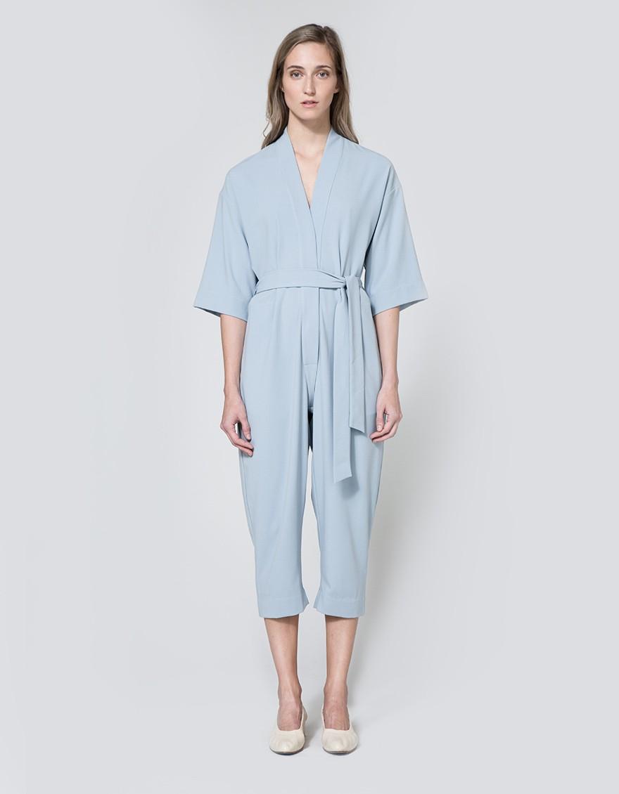 Jesse Kamm  Kimono Jumpsuit in Powder Blue. Need Supply. $595.