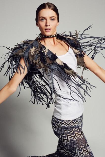Feather Leather Shawl. Calypso St. Barth. $395.