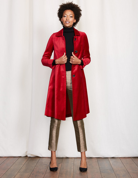 Velvet Coat. Available in red, black. Boden. Was: $208. Now: $166-187.