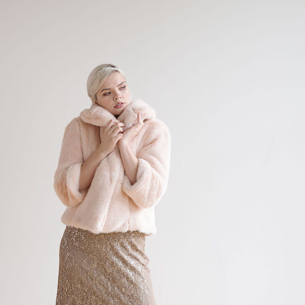 Pale Pink Faux Fur Sable Coat. Available in multiple colors. Made by hand in Seattle! Foxglove Bridal. $495.