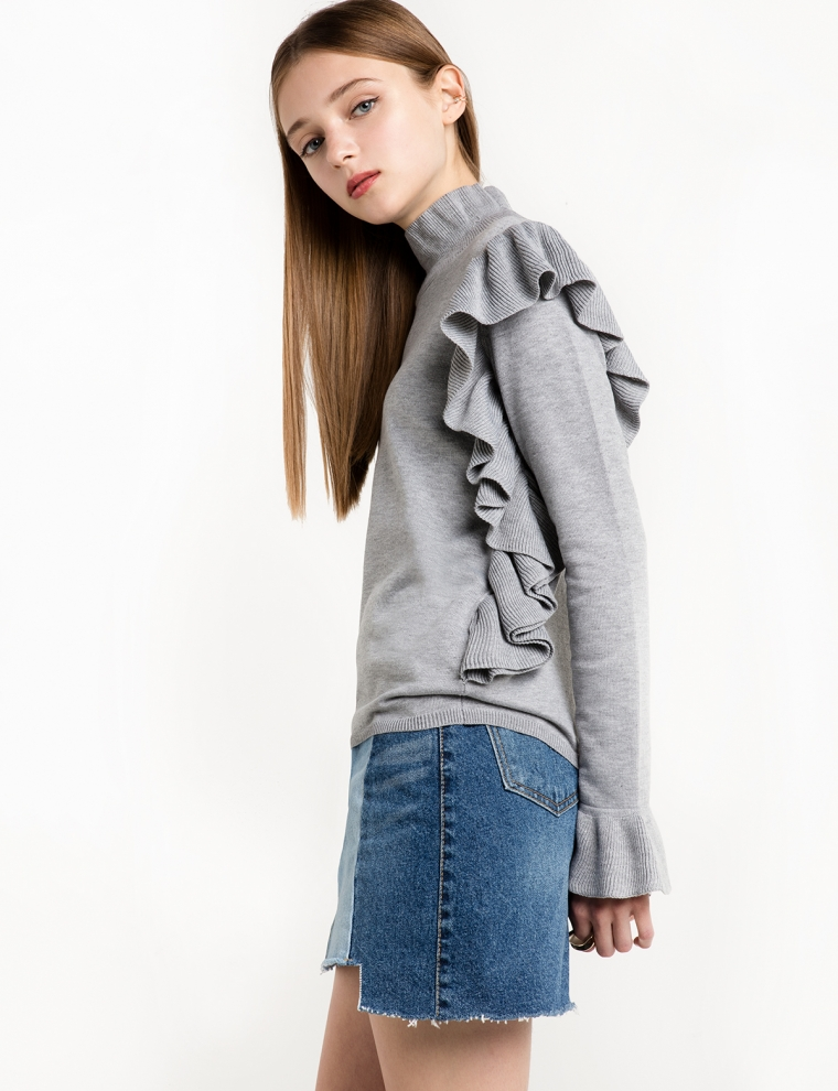 MERCER GREY RUFFLED SWEATER. Pixie Market. $89.
