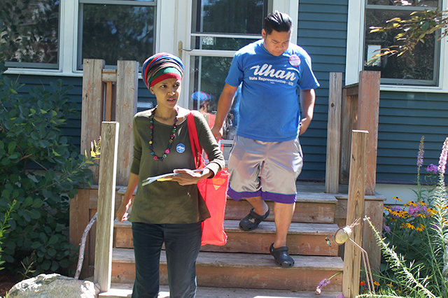 Knocking on doors during the primary.