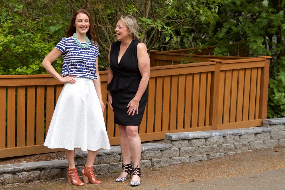 I love this photo of my mother- daughter clients,  Tarah  &  Connie . Tarah purchased the Style 360 Package and a subscription to a year of 8-10 item wishlists that in her inbox monthly. This photo was taken after the year half of nurturing Tarah's style when she went full force shopping on her own. Connie was in new pieces from her first Uber Wishlist.