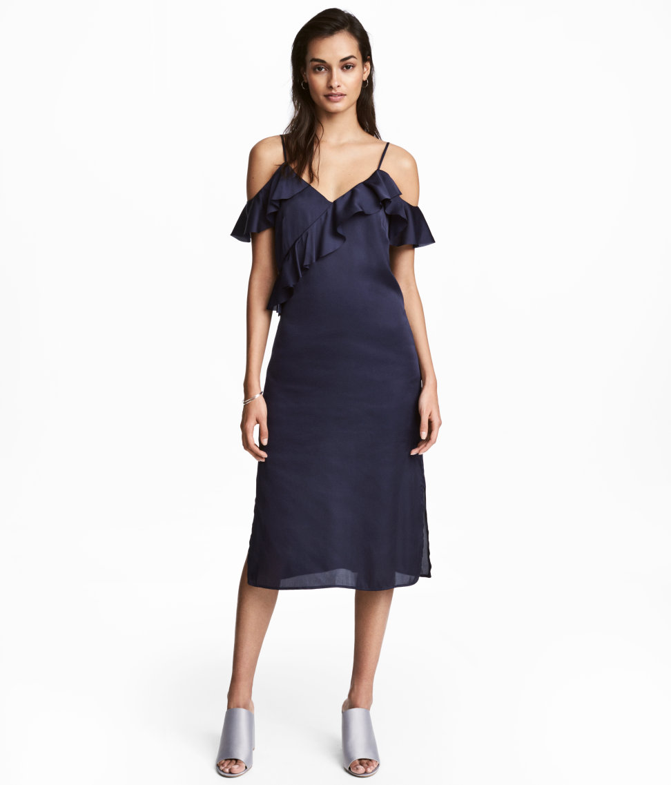 Satin Dress. Available in blue, rose. H&M. $59.