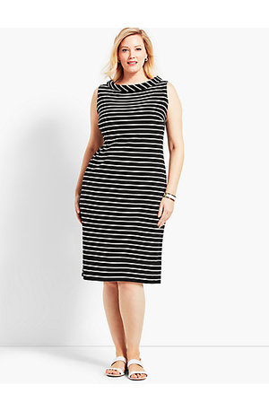 Audrey-Neck Stripe Interlock Shift Dress. Available in two colors. Talbot's. $89.