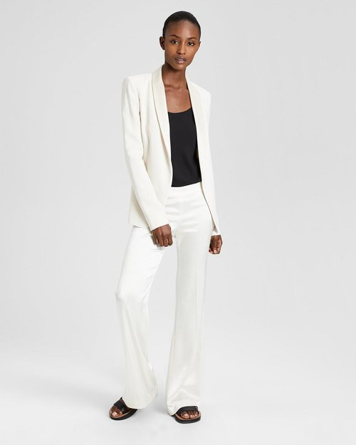 Theory Crepe Fluid Shawl Blazer. $435. Sateen Clean Flare Pant. $365. Theory.