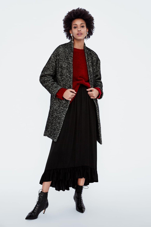 HERRINGBONE COAT. Zara. Was: $199. Now: $59.