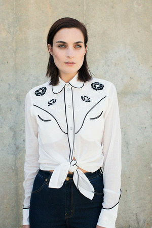 ALICE MCCAL  WHITE COTTON EYED JO SHIRT. Bona Drag. Was: $190. Now: $133.