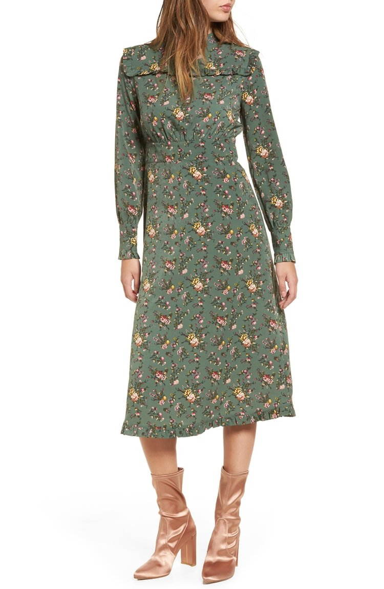 Moon River Floral Midi Dress. Nordstrom. Was: $100. Now: $59.