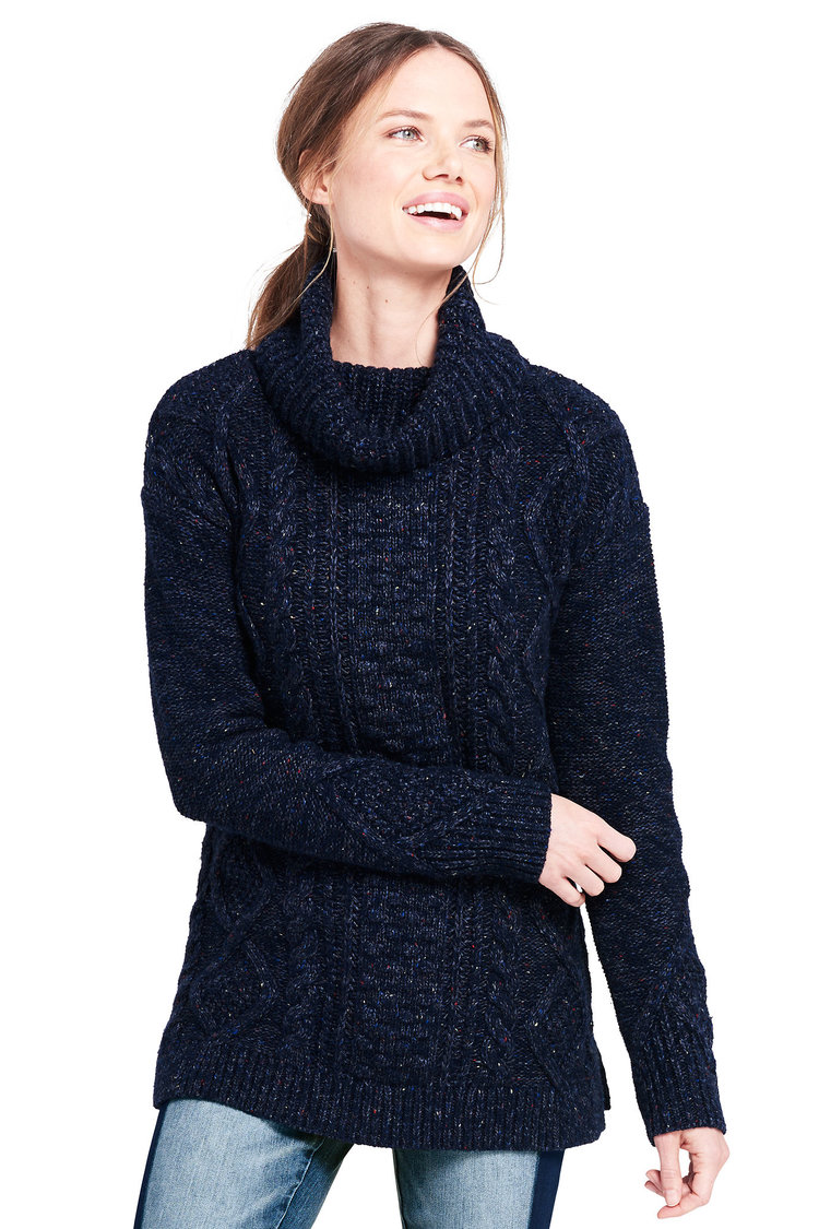 Cozy-Lofty Cable Turtleneck Sweater. Available in two colors. Also available in plus, petite. Land's End. Was: $79. Now: $34.