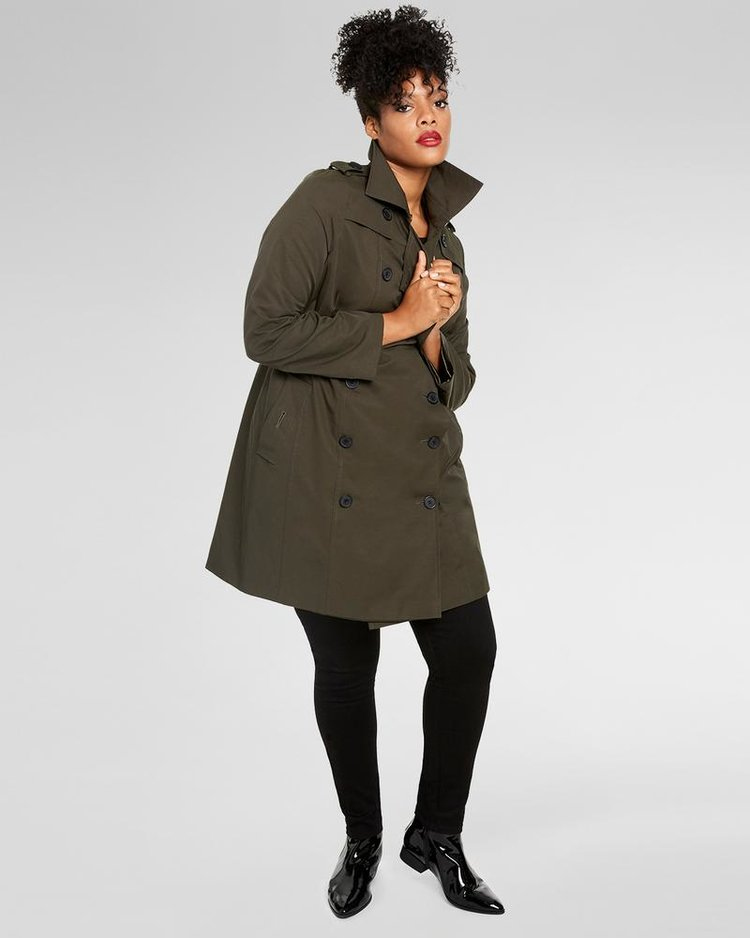 DERJON TRENCH COAT. Available in three colors. Available in sizes 8-28. Universal Standard. $180