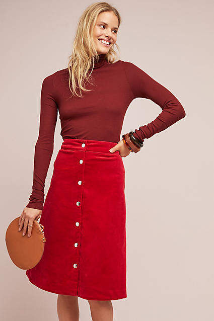 Corduroy Buttondown Skirt. Anthro. $148.