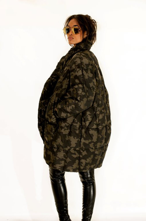 "THE ""EGG"" IN CAMO quilted down Duvet Coat $685"